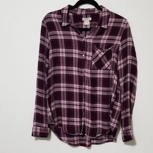 Lucky Brand Plaid Button Down Long Sleeve Top